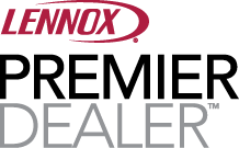 Lennox air conditioning and heating premier dealer logo.
